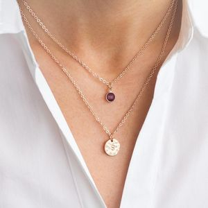 Personalised Initial Disc And Birthstone Layer Necklace - necklaces & pendants