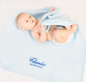 Personalised Baby Blue Fleece Blanket - bedroom