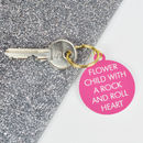 Flower Child With A Rock And Roll Heart Keytag