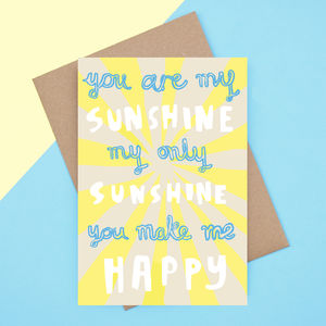 'You Are My Sunshine' Valentines Card - engagement cards
