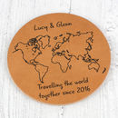World Map Personalised Leather Coaster
