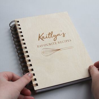 Personalised Wooden Whisk Recipe Book