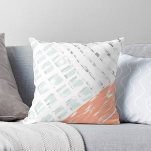 Modern Coral, Grey And White Graphic Cushion