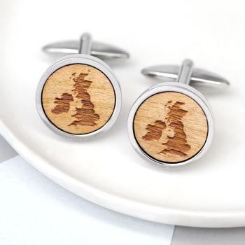 Wooden British Isles Cufflinks