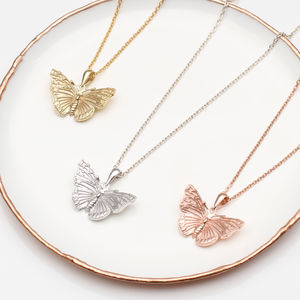 Personalised Silver Or 18ct Gold Butterfly Necklace