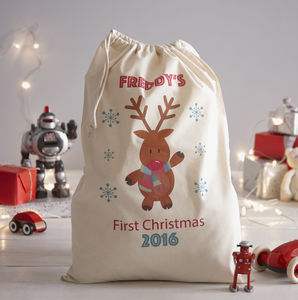 Personalised 1st Christmas Present Sack - stockings & sacks