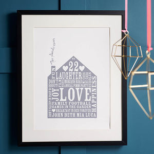 Personalised Family Home Christmas Gift Print - art-lover