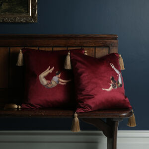 Trapeze Girl Velvet Cushion