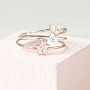 Engraved Initial Stacking Ring - rings