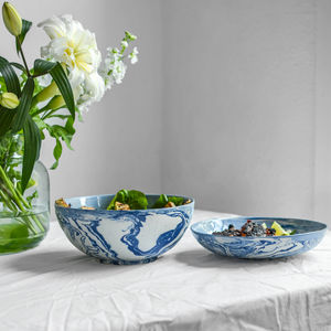 Marbled Blue And White Ceramic Salad Bowl - tableware
