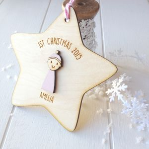 Personalised Baby Girl's First Christmas Decoration