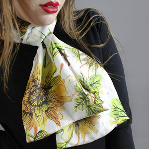 Inky Dahlia Floral Botanical Long Silk Scarf - hats, scarves & gloves