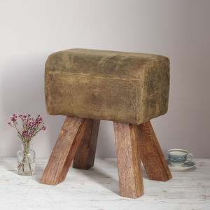 Handmade Pommel Horse Style Buffalo Leather Stool - summer sale