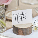 Wooden Tree Stump Place Card Holders