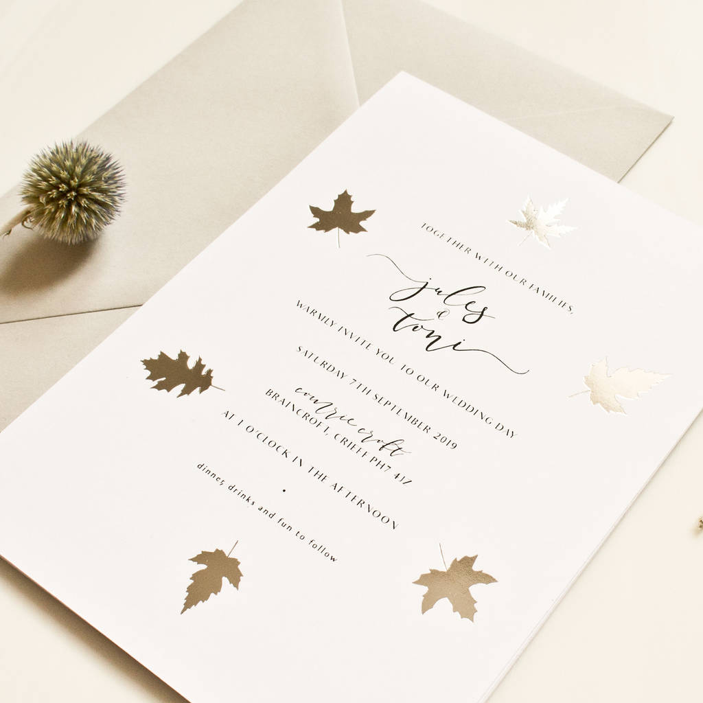 Silver Leaf Wedding Invitation silver leaf wedding