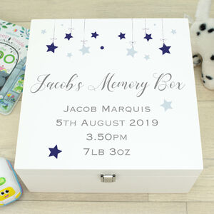 Luxury Wooden Baby Stars Memory Box
