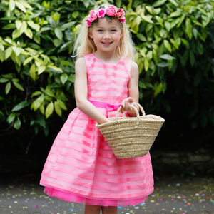 Pink Organza Stripe Flower Girls Occasion Party Dress - flower girl dresses