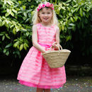 Pink Organza Stripe Flower Girls Occasion Party Dress