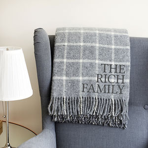 Personalised Grey Check Wool Throw - new gifts for him