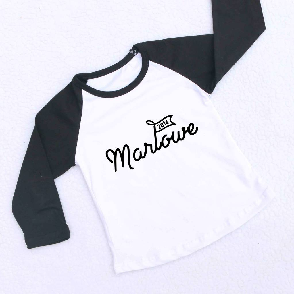 83a813ca3 personalised kids name raglan baseball shirt by marloweville ...