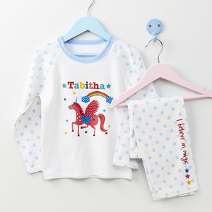 Girls Personalised Unicorn Pyjamas - clothing