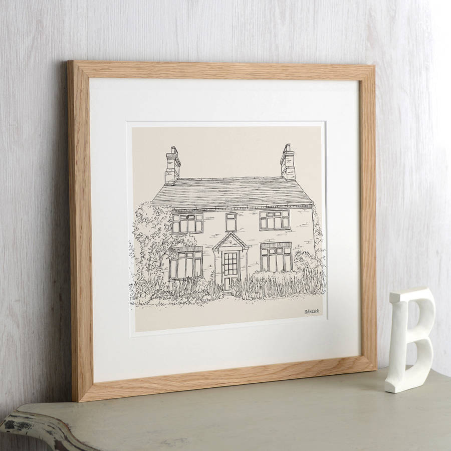 Hand drawn bespoke house sketch from letterfest · personalised pencil line first home gift