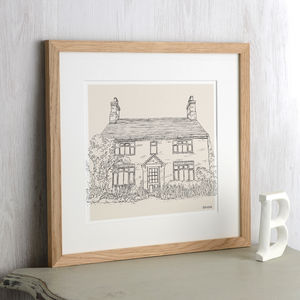 Hand Drawn Bespoke House Sketch - gifts for couples