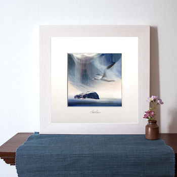 Sula Flying Over Bass Rock Art Print
