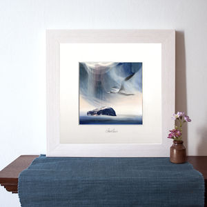 Sula Flying Over Bass Rock Art Print - nature & landscape