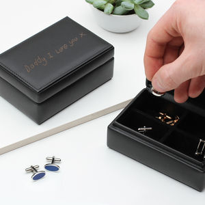 Handwritten Message Leather Cufflink Box