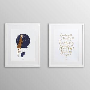 'Good Night Sleep Tight' And Tiger Nursery Print Set
