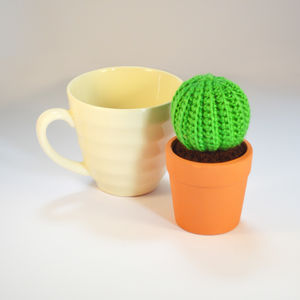 Crocheted Amigurumi Green Cactus - flowers, plants & vases
