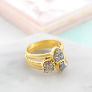 Gold Rough Diamond Birthstone Stacking Rings Set - rings