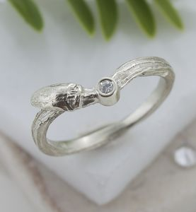 Gold Diamond Willow Twig Ring, Wishbone Wedding Ring - rings
