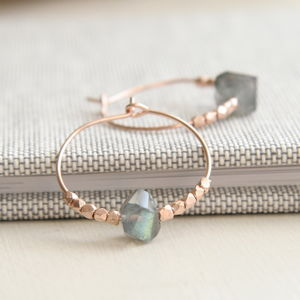 Rose Gold And Labradorite Hoops - cocktail jewellery