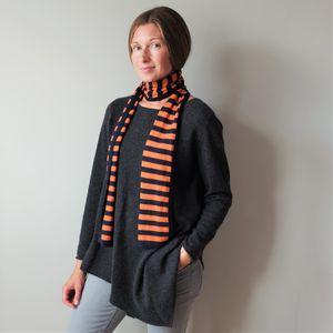 Cashmere Silk Navy Stripe Scarves