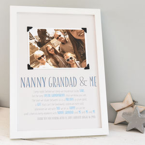 Personalised Grandparents Photo Print With Verse - family & home