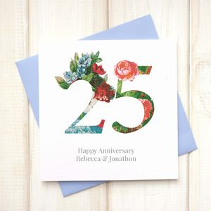Personalised Floral Wedding Anniversary Card