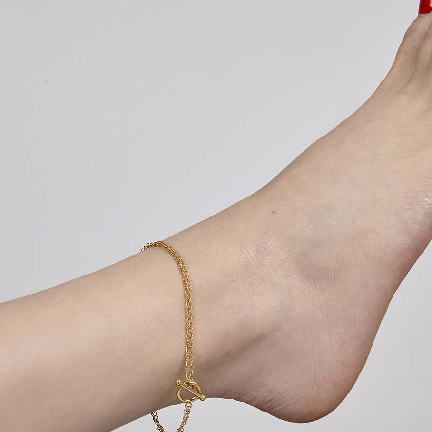gold jewelry in cute anklet love products chain lucky