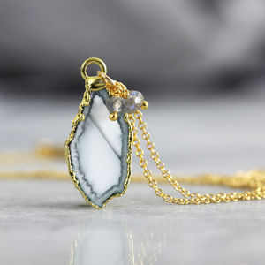Geode, Gemstone And Diamond Necklace