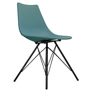 Oslo Chair Teal With Black Metal Legs - dining room