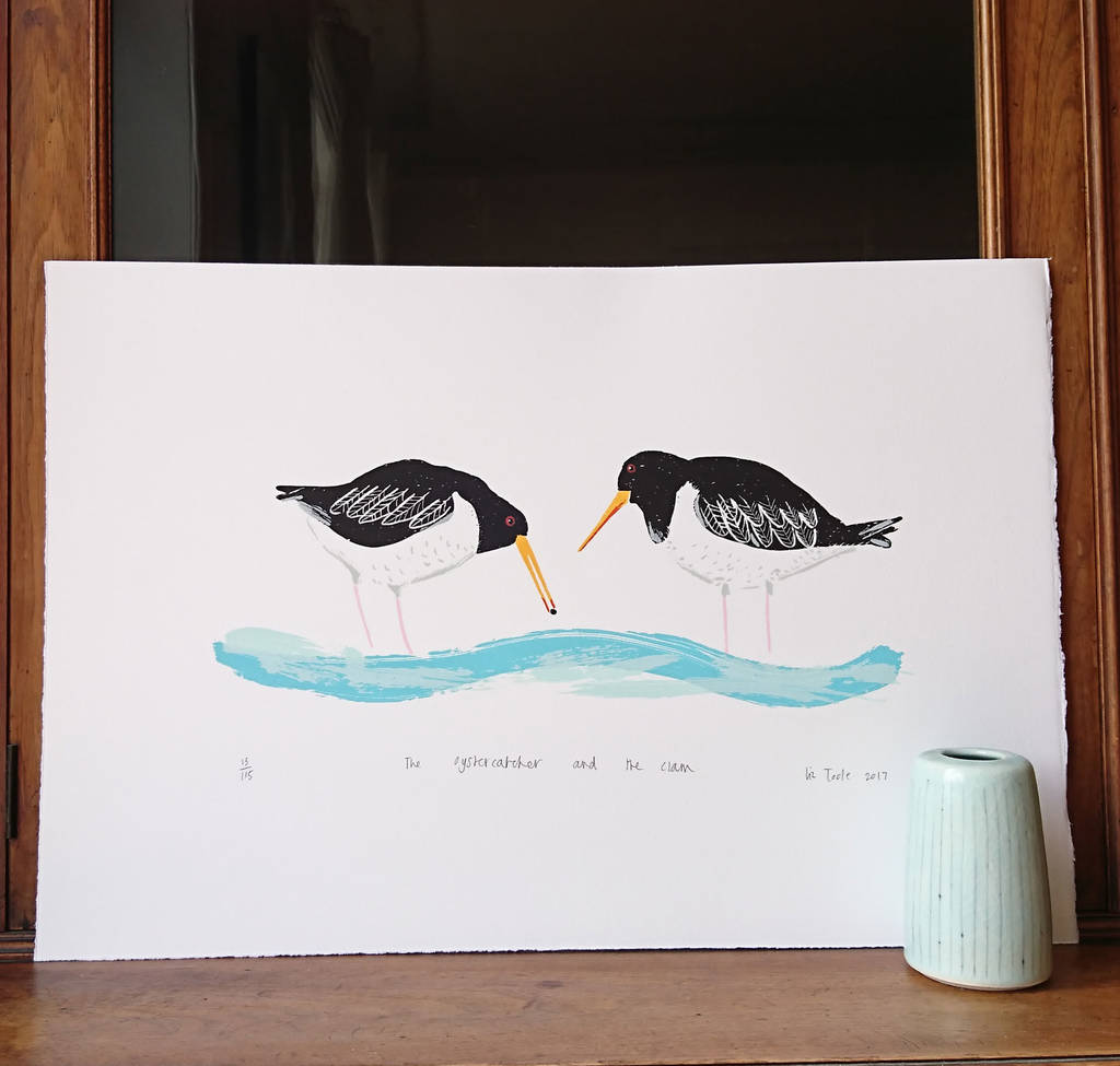 The Oystercatcher And The Clam Handprinted Screenprint