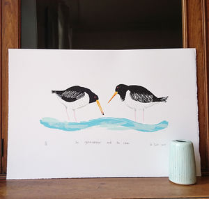 The Oystercatcher And The Clam Handprinted Screenprint - posters & prints