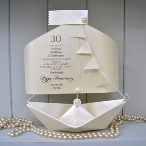 30th Pearl Wedding Anniversary Paper Boat Card - wedding, engagement & anniversary cards