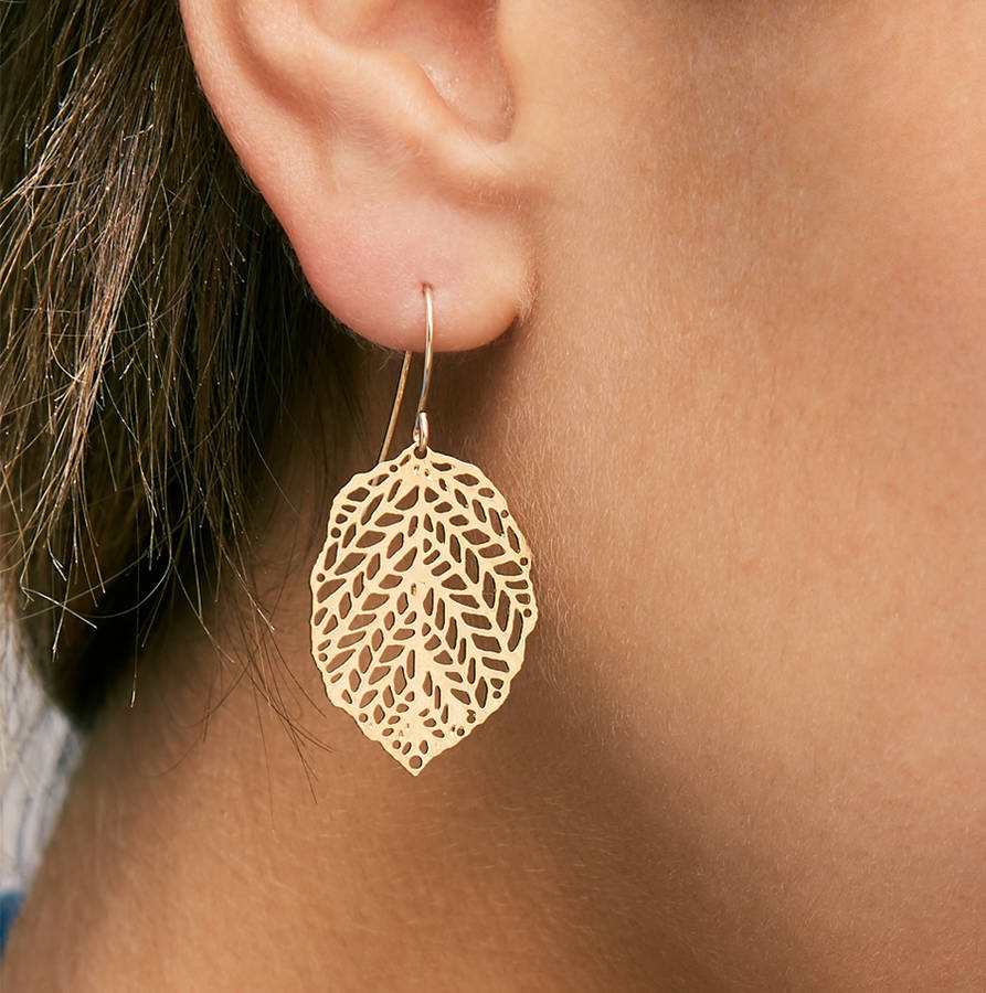 Gold leaf earrings by apache rose london