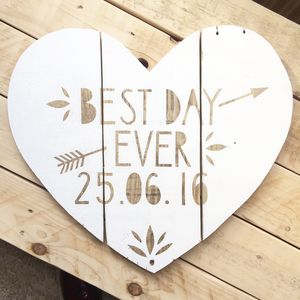 Personalised Reclaimed Wood 'Best Day Ever' Sign - mixed media & collage