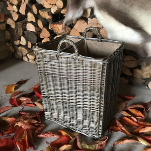 Fine Weave Bronze Wicker Basket Lined With Divider - log baskets
