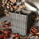 Fine Weave Bronze Wicker Basket Lined With Divider