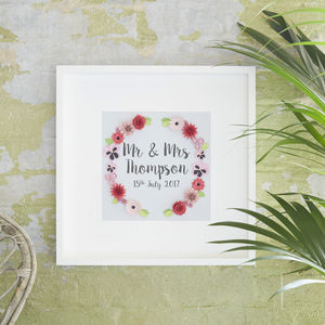 Personalised Wedding Or Anniversary Floral Art Picture - 1st anniversary: paper