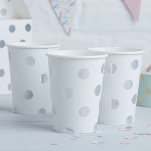 Silver Foiled Polka Dot Paper Cups